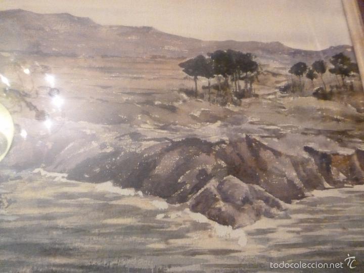Arte: acuarela paisaje Acuarela.Marina.Fdo:J.Ribot Llupia.Año 1957. - Foto 8 - 55952501