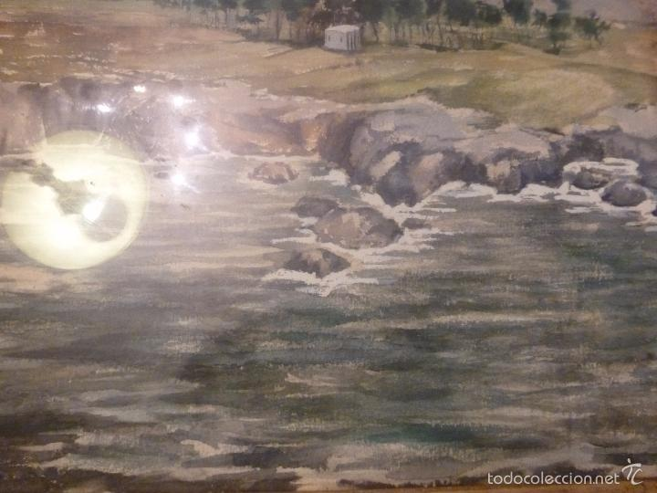 Arte: acuarela paisaje Acuarela.Marina.Fdo:J.Ribot Llupia.Año 1957. - Foto 12 - 55952501