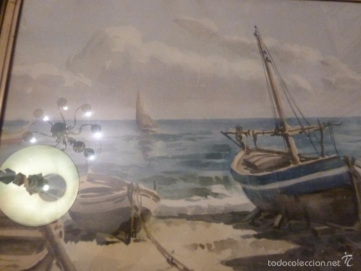 Arte: Acuarela.Marina.FdoAcuarela.Barcos.Fdo:Mariano Brunet Coll. - Foto 3 - 55952589