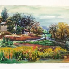 Arte: PINTURA ORIGINAL ACUARELA PAISAJE RURAL, PINTURA ARTÍSTICA. Lote 56126686