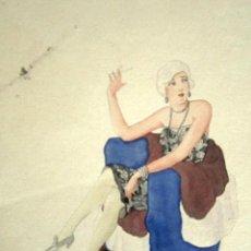 Arte: ACUARELA DE UNA MUJER SOFISTICADA. SAGRERA. SIN FIRMAR. 15.3 X 20 CM. Lote 56215119
