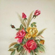 Arte: PRECIOSAS FLORES EN ACUARELA DEL SIGLO XIX, CIRCA 1870, FIRMADAS A. PETIT, ESCUELA FRANCESA DEL XIX. Lote 56234426