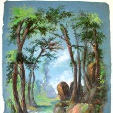 Arte: BOSQUE CON RIACHUELO. TÉCNICA MIXTA SOBRE PAPEL. FIRMADO CG. ESPAÑA. XIX(?). Lote 56257624