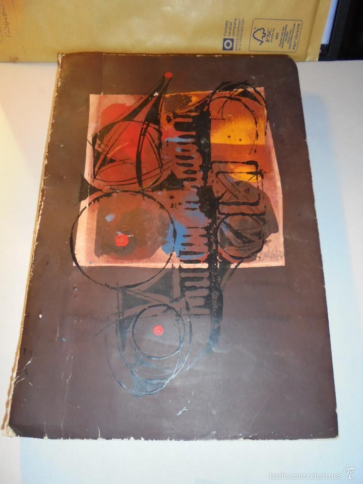 SALVADOR DE AULESTIA - BARCELONA 1966 PINTURA ORIGINAL MAQUETA LIBRO ESCRITO A MAQUINA Y DIBUJOS A (Arte - Acuarelas - Contemporáneas siglo XX)