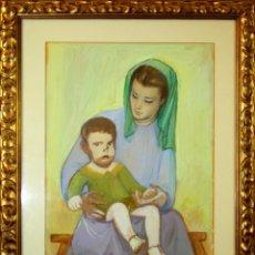 Arte: B1-062. MATERNIDAD. TÉCNICA MIXTA SOBRE PAPEL. FIRMADO A.OPISSO (CARDONA). CIRCA 1940. Lote 56278457