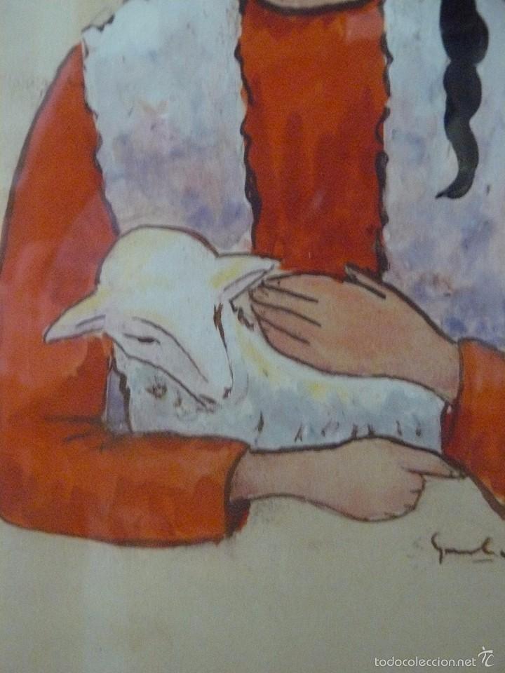Arte: ACUARELA - FIRMA ILEGIBLE - PASTORCILLA - Foto 3 - 56292753