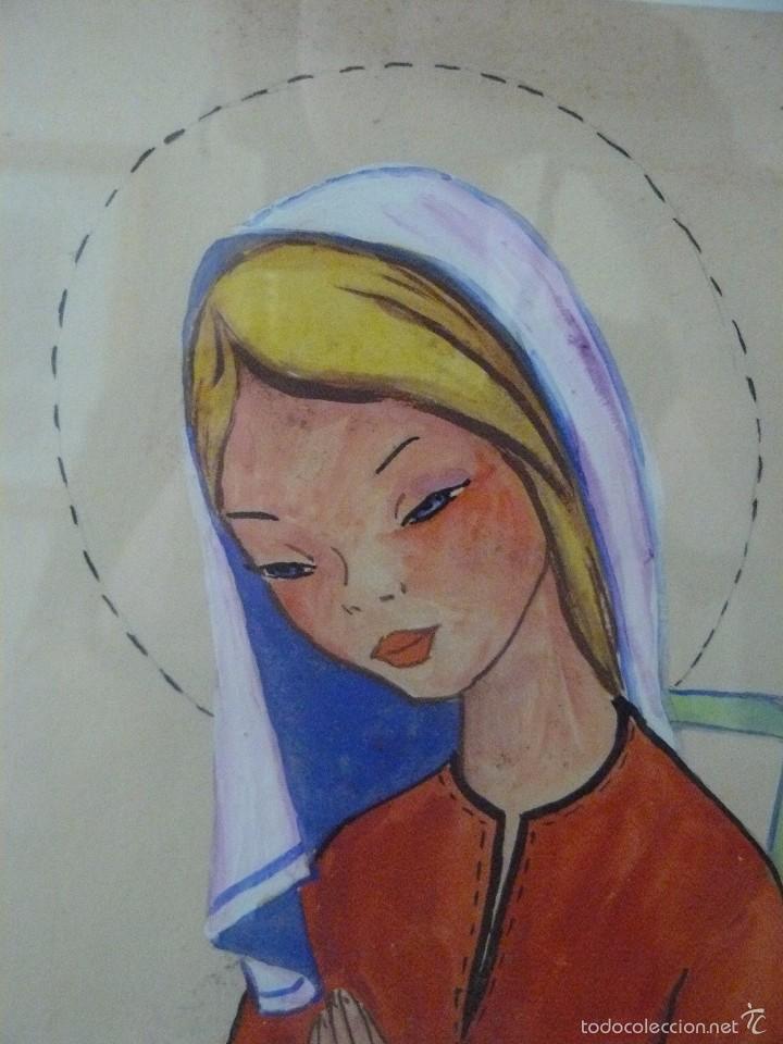 Arte: ACUARELA Y TINTA - FIRMA ILEGIBLE - VIRGEN ORANDO - Foto 2 - 56292875