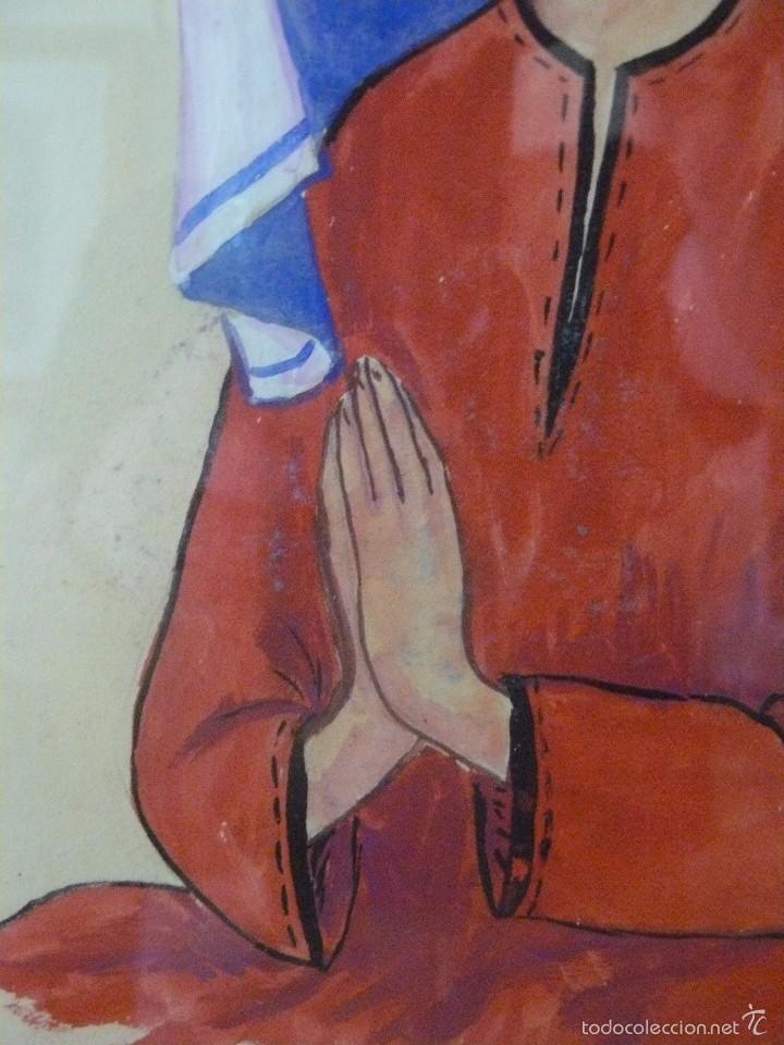 Arte: ACUARELA Y TINTA - FIRMA ILEGIBLE - VIRGEN ORANDO - Foto 3 - 56292875