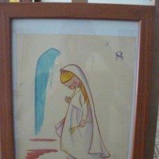 Arte: ACUARELA - FIRMADA TESA - JOVEN VIRGEN. Lote 56293027