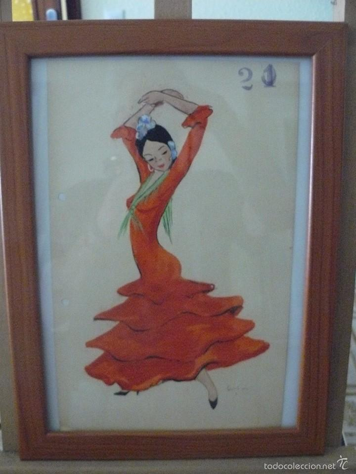ACUARELA - FIRMA ILEGIBLE - BAILAORA (Arte - Acuarelas - Contemporáneas siglo XX)