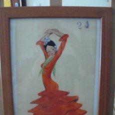 Arte: ACUARELA - FIRMA ILEGIBLE - BAILAORA. Lote 56293286