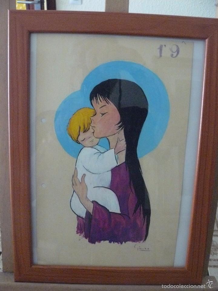 ACUARELA - FIRMA ILEGIBLE - VIRGEN CON NIÑO (Arte - Acuarelas - Contemporáneas siglo XX)