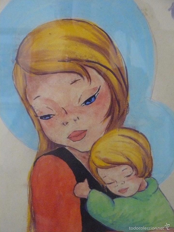 Arte: ACUARELA - FIRMA ILEGIBLE - VIRGEN CON NIÑO - Foto 2 - 56293464