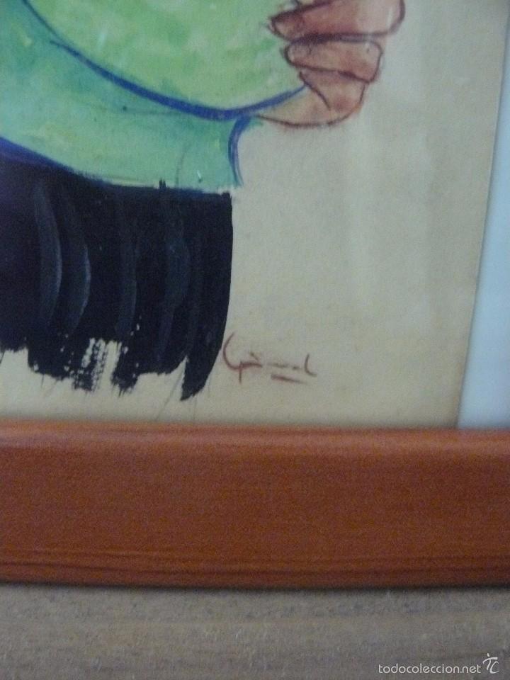 Arte: ACUARELA - FIRMA ILEGIBLE - VIRGEN CON NIÑO - Foto 3 - 56293464