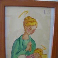 Arte: ACUARELA - FIRMADA TESA - VIRGEN CON NIÑO. Lote 56293565