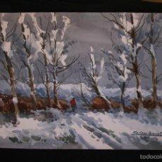 Arte: MARIANO BRUNET (VICH, BARCELONA 1918) GRAN ACUARELA SOBRE PAPEL. PAISAJE DE VIC. Lote 56364760