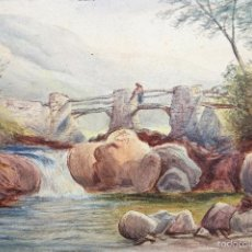 Arte: ESTUPENDO PAISAJE DE MEDIADOS DEL SIGLO XIX, CIRCA 1850, FIRMADO JN.C.B. ESCUELA DE GALES, CALIDAD. Lote 56438511
