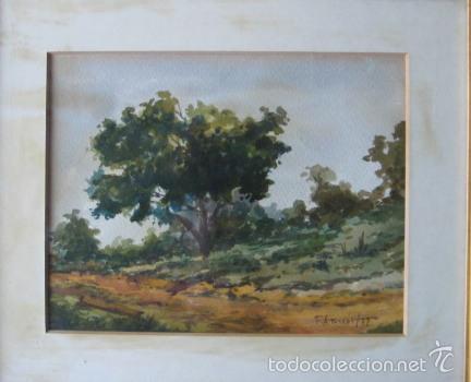 Arte: FEDERICO AMORÓS. ESCUELA VALENCIANA. PAISAJE RURAL. FECHADO EN 1977. - Foto 2 - 56505198