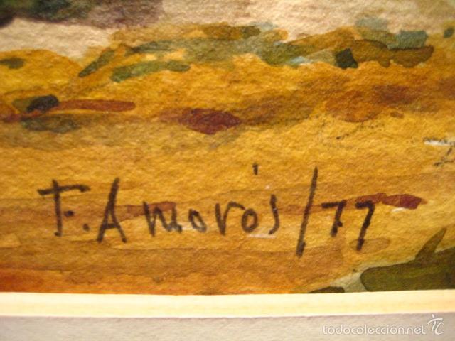 Arte: FEDERICO AMORÓS. ESCUELA VALENCIANA. PAISAJE RURAL. FECHADO EN 1977. - Foto 5 - 56505198