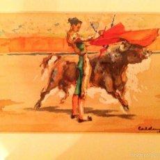 """Arte: DIBUJO TORO ACUARELA DEL PINTOR JOAQUIN CALDENTEY SALAVERRI """"QUINITO"""". Lote 56686951"""