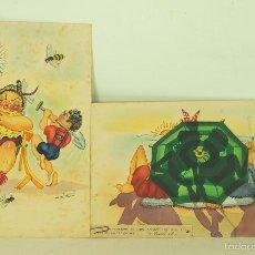 Arte: PAREJA DE DIBUJOS. TECNICA MIXTA ACUARELA Y TINTA. ROICHI. CIRCA 1950.. Lote 56693969