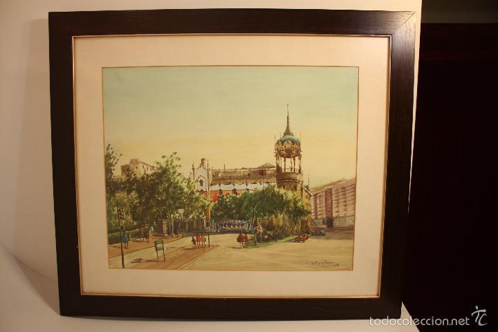 Roche galvez, gran acuarela de la plaza kenedy - Sold