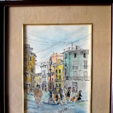 Arte: JUAN ORTUÑO (YECLA,1940-1997). ESCENA URBANA. TINTA Y ACUARELA. 30X20 CMS.. Lote 56725109