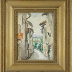 Arte: A1-064. CALLE DE PUEBLO. ACUARELA SOBRE PAPEL. FIRMA ILEGIBLE. PRINCIPIOS SIGLO XX. . Lote 56735452