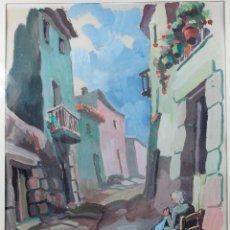 Arte: JUAN CAPELLA (1927-2005) ESCENA DE PUEBLO, ACUARELA SOBRE PAPEL, 3239CM. MARCO: 51X56CM.. Lote 56758347
