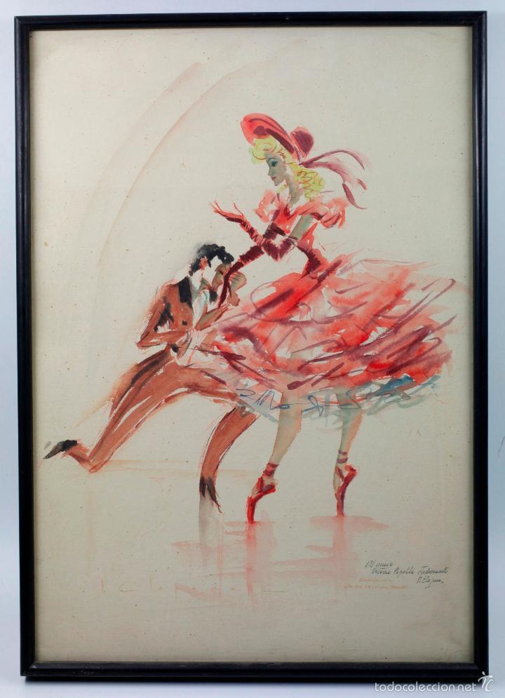 BALLET DE LONDRES, FIRMADO: CLAPERA. DEDICADO, ACUARELA SOBRE PAPEL 37X52CM. (Arte - Acuarelas - Contemporáneas siglo XX)