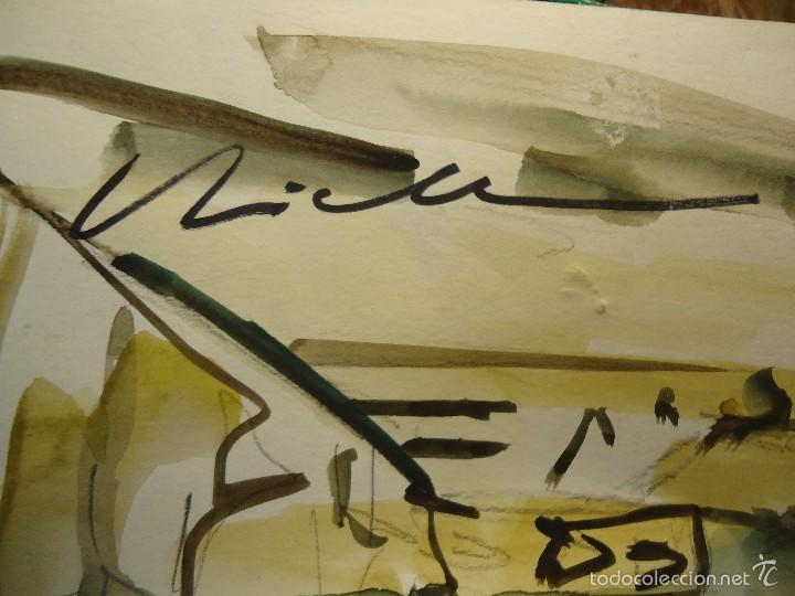 Arte: VICTOR RODRÍGUEZ preciosa acuarela CIUDAD VIEJA A CORUÑA 32 X 46 cm. - Foto 7 - 56784838