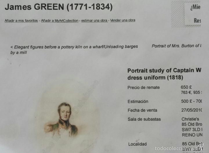 Arte: Maravillosa acuarela de James Green 1771-1834, marco original, excelente calidad - Foto 5 - 57024529