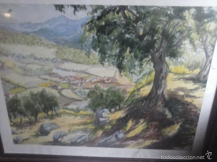 CUADRO DIBUJO ACUARELA , PUEBLO . (Arte - Acuarelas - Contemporáneas siglo XX)