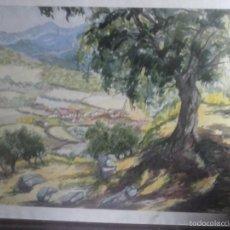 Kunst - CUADRO DIBUJO ACUARELA , PUEBLO . - 57224674