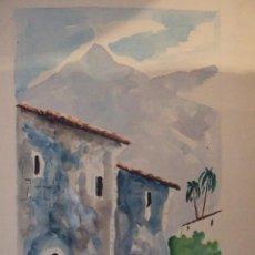 Arte: ACUARELA - CALLE HUERTA SOLLER - FIRMADA - MALLORCA - 45CM POR 31CM. Lote 57234223