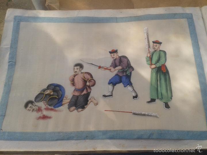 Arte: COLECCION 12 PINTURAS TORTURAS CHINAS , AL ACUARELA SOBRE PAPEL DE ARROZ PARIS 1797 EN LIBRO - Foto 7 - 57236538
