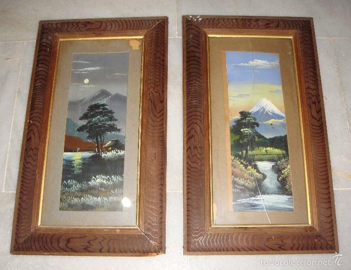 ANTIGUA PAREJA DE PINTURAS JAPONESAS. S.XIX. (Arte - Acuarelas - Modernas siglo XIX)