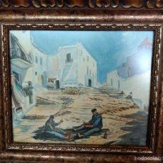 Arte: PINTOR MALAGUE MOREN ORTEGA .PESCADORES Y REDES. TÉCNICA MIXTA ACUARELA Y AGUATINTA. FIRMADO MORENNO. Lote 57285255