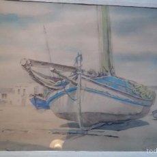 Arte - * ANTIGUA ACUARELA FIRMADA POR GABRIEL AMAT.TEMA MARINA: BARCAS COSTA BRAVA - 57290278