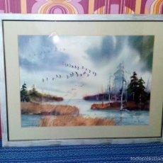 Arte: GRAN ACUARELA PAISAJE INVERNAL ORIGINAL DE LA ARTISTA AMERICANA JANE CARLSON. Lote 56968665