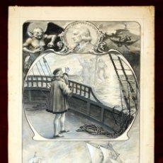 Arte: DI-073. ILUSTRACIÓN PARA COMPOSICIÓN HOMENAJE A COLÓN. TINTA.ACUARELA.ESPAÑA.CIRCA 1903. Lote 57234747