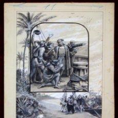 Arte: DI-074. ILUSTRACIÓN PARA COMPOSICIÓN HOMENAJE A COLÓN. TINTA.ACUARELA.ESPAÑA.CIRCA 1903. Lote 57259640