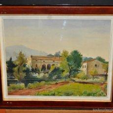 Arte - AGUSTÍ RIBAS RIUS. ACUARELA SOBRE PAPEL DEL AÑO 1956. PAISAJE CON CASAS - 57360985