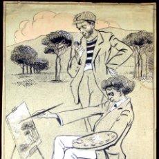 Arte: DI-077. PINTOR MODERNISTA. TINTA Y ACUARELA SOBRE PAPEL. FIRMADO ROS. ESPAÑA.CIRCA 1900.. Lote 57325057