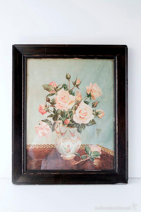 Arte: Acuarela de bodegón de flores. Años 20/ 30 aprox. (ver fotos) - Foto 2 - 57550815