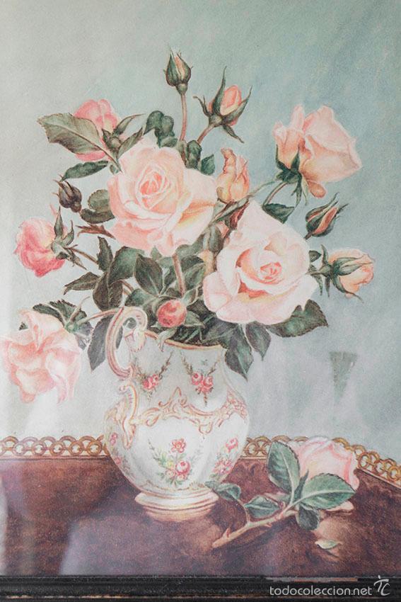 Arte: Acuarela de bodegón de flores. Años 20/ 30 aprox. (ver fotos) - Foto 3 - 57550815