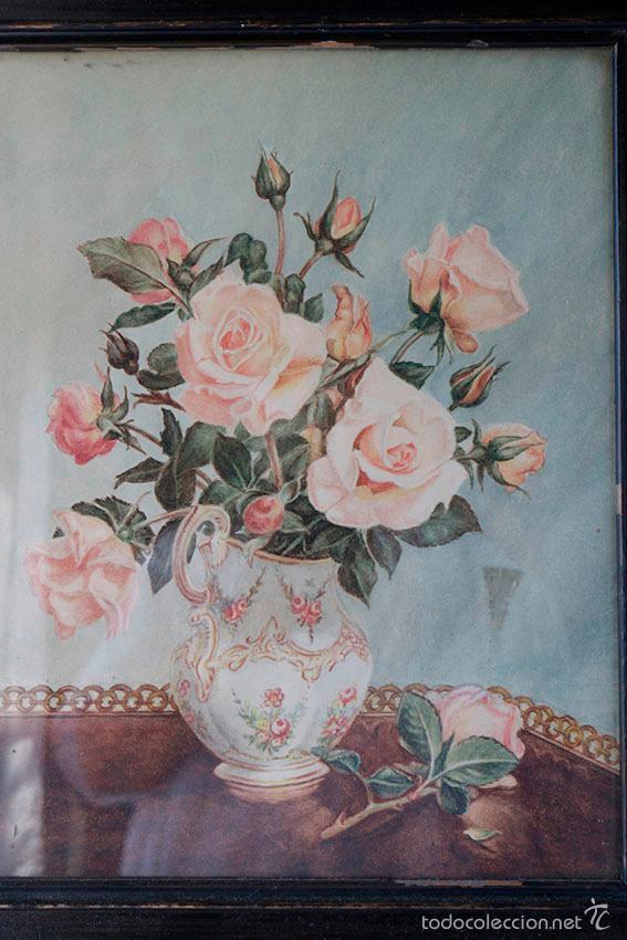 Arte: Acuarela de bodegón de flores. Años 20/ 30 aprox. (ver fotos) - Foto 4 - 57550815