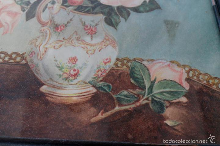 Arte: Acuarela de bodegón de flores. Años 20/ 30 aprox. (ver fotos) - Foto 5 - 57550815