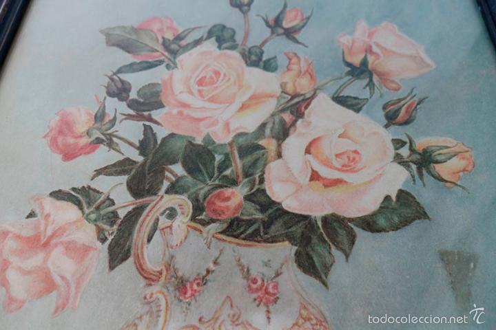 Arte: Acuarela de bodegón de flores. Años 20/ 30 aprox. (ver fotos) - Foto 6 - 57550815