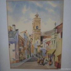 Arte: ACUARELA PUEBLO RURAL. Lote 57584252